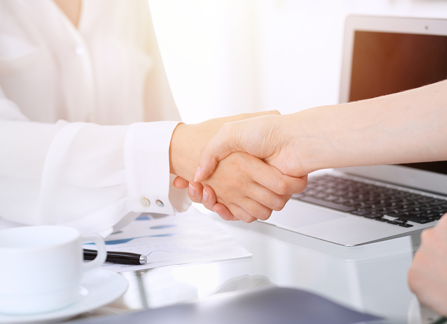 握手を交わすビジネスパートナー